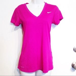 Nike Dri Fit Magenta V Neck Workout Tee